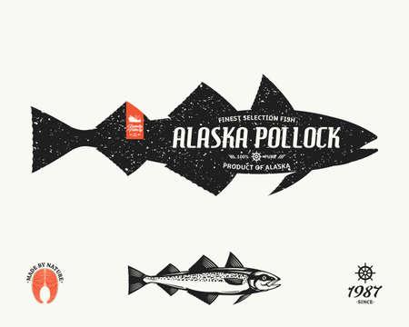 Vector Alaska pollock label. Seafood shop label, design elements and emblem template Иллюстрация