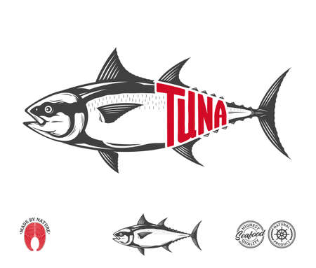 Vector bluefin tuna label isolated on a white background