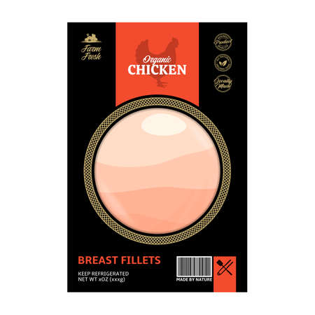 Vector modern style chicken meat packaging or label. Hen silhouette. Butcher's shop or poultry farming design elements 向量圖像