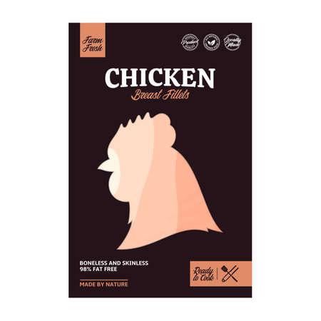 Vector chicken breast fillet meat packaging or label. Hen icon. Butcher's shop design elements 向量圖像