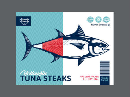 Vector tuna packaging or label design. Modern style seafood label. Tuna fish illustration 矢量图像