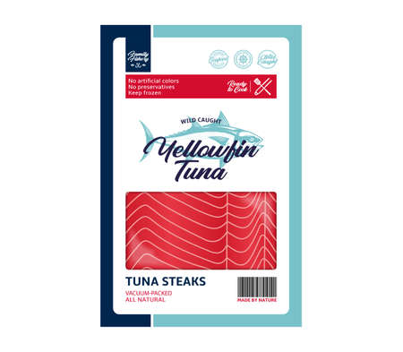 Vector tuna flat style packaging design. Tuna illustration and fish meat texture for packaging, fisheries, advertising etc 矢量图像