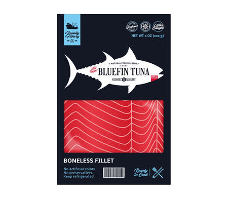 Vector tuna packaging design. Flat style seafood label. Raw tuna fillet in a package isolated on a white background 矢量图像
