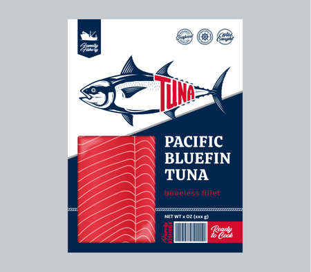 Vector flat style tuna packaging design concept. Tuna fillet in a package isolated on a white background
