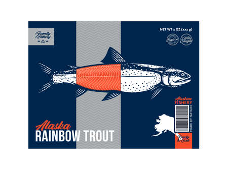Vector trout packaging or label design. Modern style seafood label. Trout fish illustration