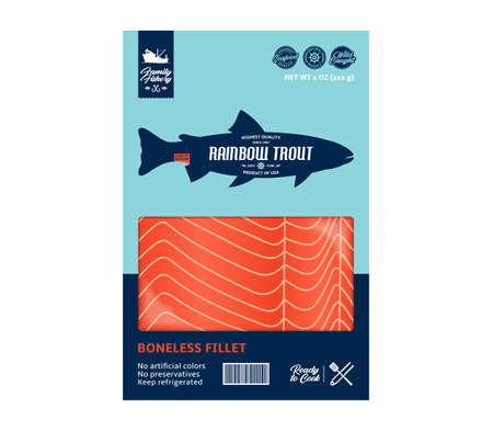 Vector trout packaging design. Flat style seafood label. Raw trout fillet in a package isolated on a white background