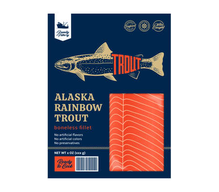 Vector trout packaging design concept. Modern style seafood illustration. Raw trout fillet in a package isolated on a white background