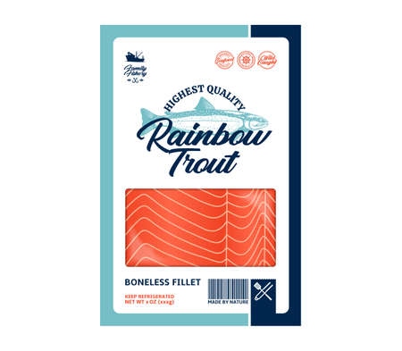 Vector trout flat style packaging design. Trout illustration and fish meat texture