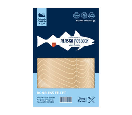 Vector alaska pollock packaging design. Flat style seafood label. Raw alaska pollock fillet in a package isolated on a white background 矢量图像