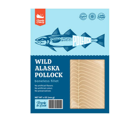 Vector flat style alaska pollock packaging design concept. Alaska pollock fillet in a package isolated on a white background