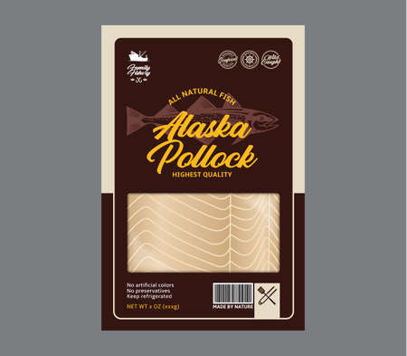 Vector alaska pollock flat style packaging design. Alaska pollock illustration and fish meat texture for packaging, fisheries, advertising, etc