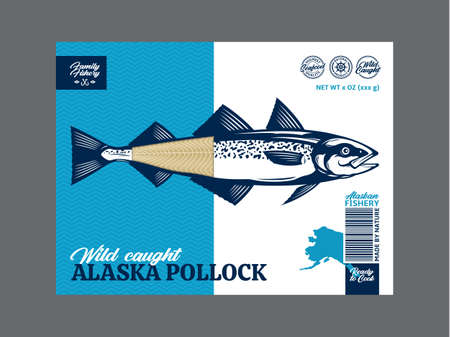 Vector alaska pollock packaging or label design. Modern style seafood label. Alaska pollock fish illustration