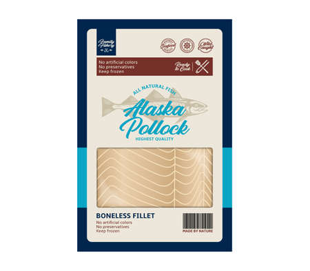 Vector alaska pollock flat style packaging design. Alaska pollock illustration and fish meat texture 矢量图像