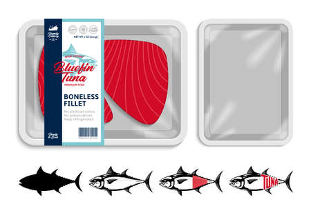 Vector tuna packaging illustration. Flat style seafood label. Tuna fish illustrations. White food tray mockup 矢量图像