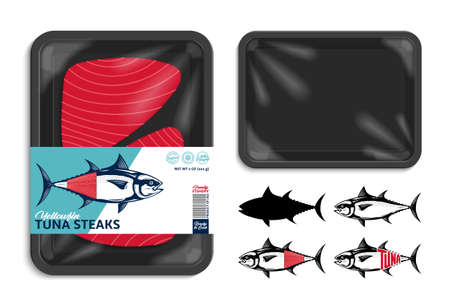Vector tuna packaging illustration. Flat style seafood label. Tuna fish illustrations. Black food tray mockup