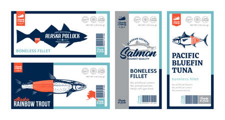 Vector fish horizontal and vertical labels and packaging design concepts. Salmon, trout, tuna and alaska pollock fish illustrations. Flat style seafood labels