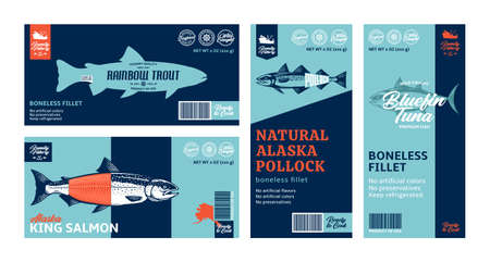 Vector fish horizontal and vertical labels. Salmon, trout, tuna and alaska pollock fish illustrations. Modern style seafood labels