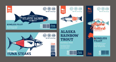 Vector fish horizontal and vertical modern style labels. Salmon, trout, tuna and alaska pollock fish illustrations. Seafood labels for groceries, fisheries, packaging, and advertising