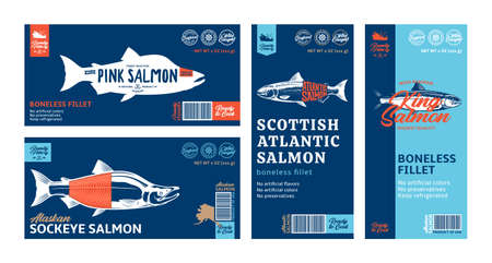 Vector salmon horizontal and vertical modern style labels. Atlantic, sockeye, chinook and pink salmon fish illustrations
