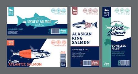 Vector salmon horizontal and vertical labels. Atlantic, chinook, sockeye and pink salmon fish illustrations. Modern style seafood labels
