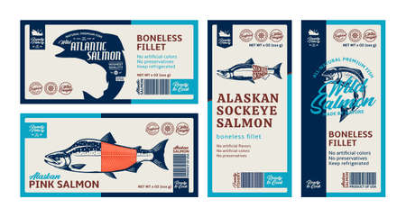Vector salmon horizontal and vertical labels. Atlantic, chinook, sockeye and pink salmon fish illustrations. Seafood labels for fisheries, groceries, packaging and advertising 矢量图像