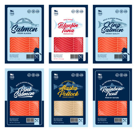 Vector fish flat style packaging design. Salmon, trout, tuna and alaska pollock fish illustrations and fish meat texture for packaging, fisheries, advertising, etc 矢量图像