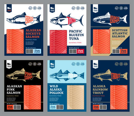 Vector fish packaging design concept. Modern style seafood illustration. Salmon, trout, tuna and alaska pollock fish illustrations 矢量图像