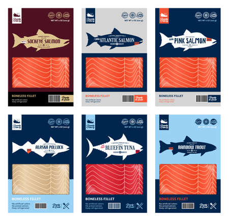 Vector fish packaging design. Flat style seafood label. Salmon, trout, tuna and alaska pollock fish silhouettes