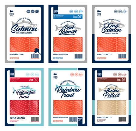 Vector fish flat style packaging design. Salmon, trout, tuna and alaska pollock fish illustrations and fish meat textures 矢量图像