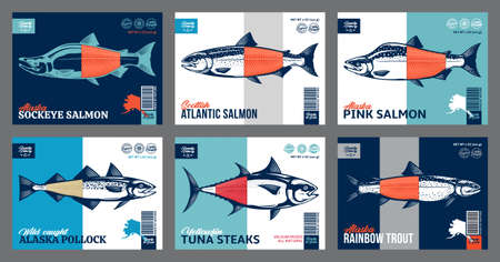 Vector fish packaging or label design. Modern style seafood label. Salmon, trout, tuna and alaska pollock fish illustrations