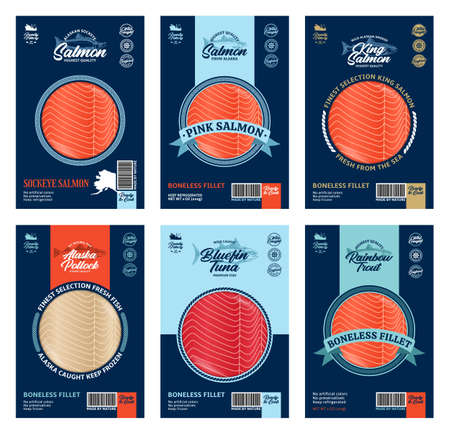 Vector fish packaging design concept. Modern style seafood packaging illustration. Salmon, trout, tuna and alaska pollock fish illustrations