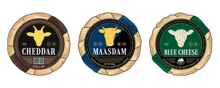 Vector cheese round labels and cheese wheels wrapped in paper. Cow, sheep, and goat icons 矢量图像