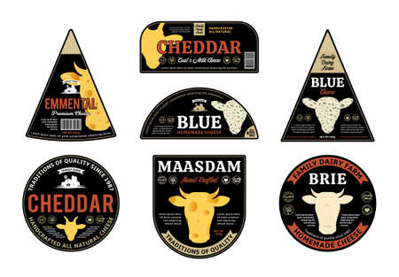 Vector cheese labels and packaging design elements. Different types of cheese textures. Cow, sheep, and goat icons