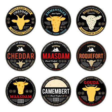 Set of vector cheese round labels and packaging design elements. Different types of cheese detailed textures. Cow, sheep and goat icons
