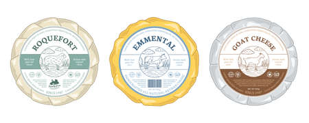 Vector cheese round labels and cheese wheels wrapped in paper. Cow, sheep, and goat illustrations 矢量图像