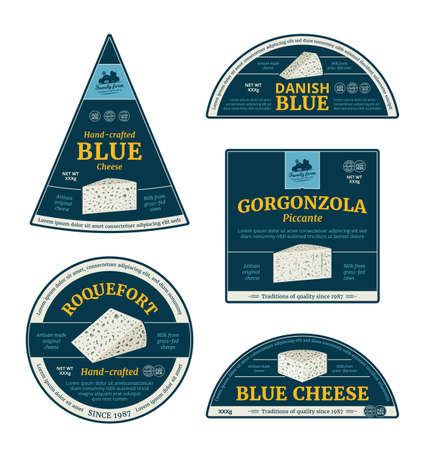 Vector blue cheese labels and packaging design elements. Roquefort, gorgonzola and blue cheese detailed icons