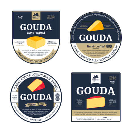 Vector gouda cheese labels and packaging design elements. Gouda cheese detailed icons
