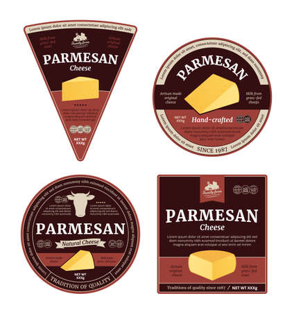 Vector parmesan cheese labels and packaging design elements. Parmesan cheese detailed icons