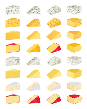 Vector different types of cheese icons for dairies, farms, packaging and groceries branding