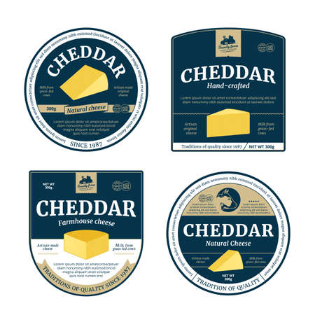 Vector cheddar cheese labels and packaging design elements. Cheddar cheese detailed icons 矢量图像