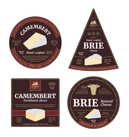 Vector camembert and brie cheese labels and packaging design elements. Camembert and brie cheese detailed icons 矢量图像