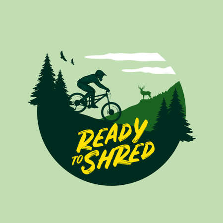 Vector mountain biking illustration with a rider, mountains and pine trees