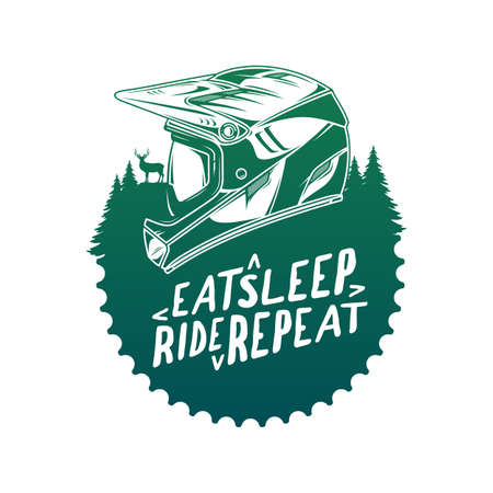 Vector mountain biking badge with full face helmet and pine trees