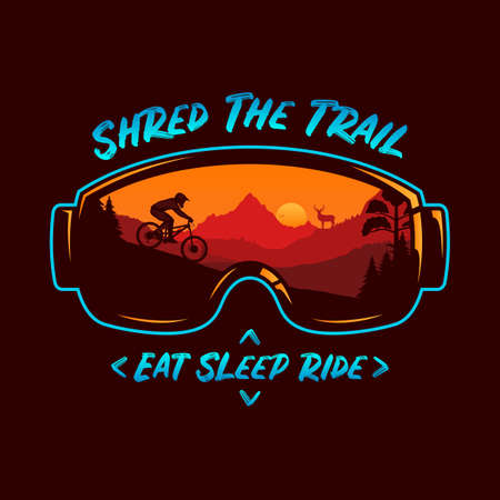 Vector mountain biking illustration with a cyclist, mountains and wild nature