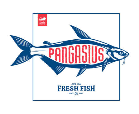 Vector pangasius fish label isolated on a white background 矢量图像