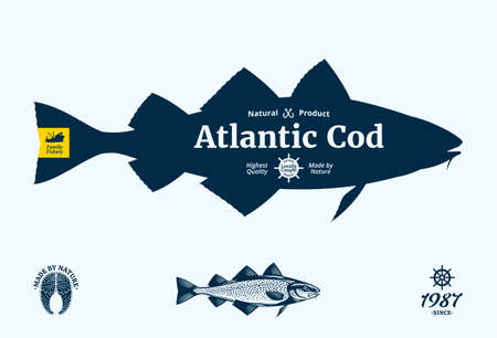 Vector Atlantic cod seafood label