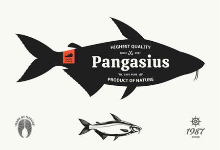 Vector pangasius seafood label
