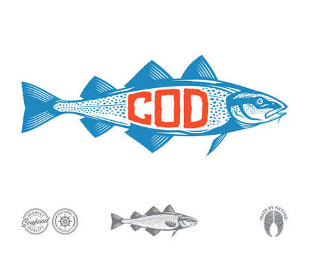 Vector cod fish label isolated on a white background