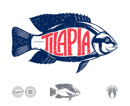 Vector tilapia fish label isolated on a white background