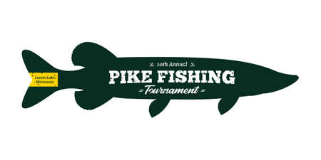 Vector pike fishing badge isolated on a white background